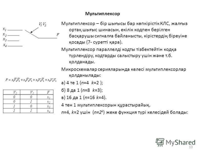 Мультиплексор Мультиплексор – бір шығысы бар көпкірістік КЛС, жалғыз ортақ шығыс шинасын, екілік кодпен берілген басқарушы сигналға байланысты, кірістердің біреуіне қосады (7- суретті қара). Мультиплексор параллелді кодты тізбектейтін кодқа түрлендір