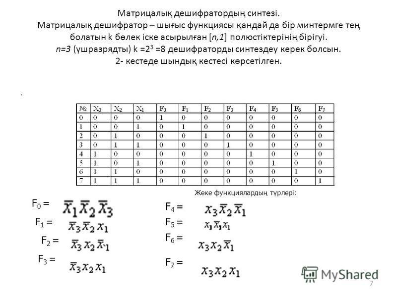 Матрицалық дешифратордың синтезі. Матрицалық дешифратор – шығыс функциясы қандай да бір минтермге тең болатын k бөлек іске асырылған [n,1] полюстіктерінің бірігуі. n=3 (үшразрядты) k =2 3 =8 дешифраторды синтездеу керек болсын. 2- кестеде шындық кест