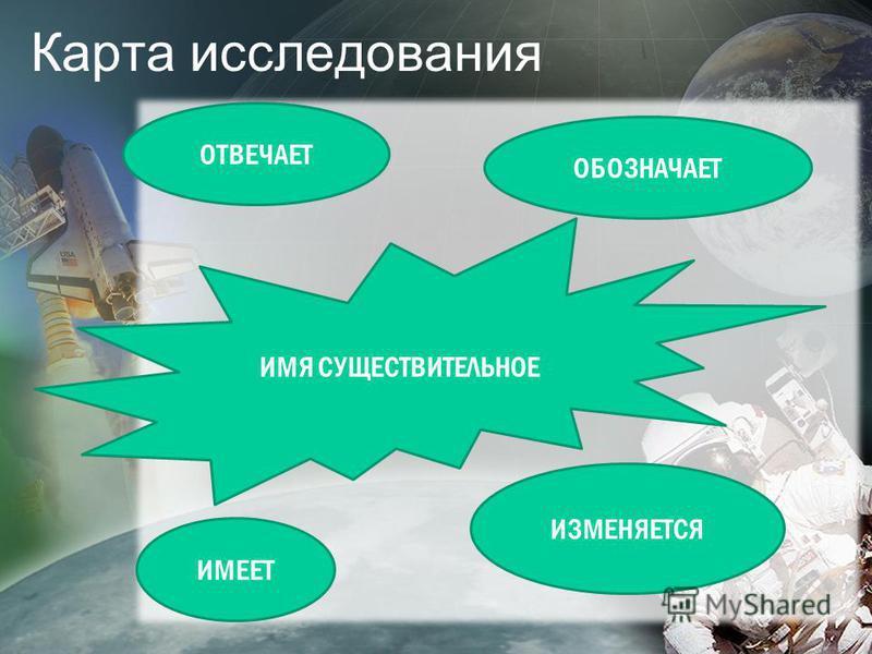 Карта исследования ИМЯ СУЩЕСТВИТЕЛЬНОЕ ОТВЕЧАЕТ ОБОЗНАЧАЕТ ИМЕЕТ ИЗМЕНЯЕТСЯ