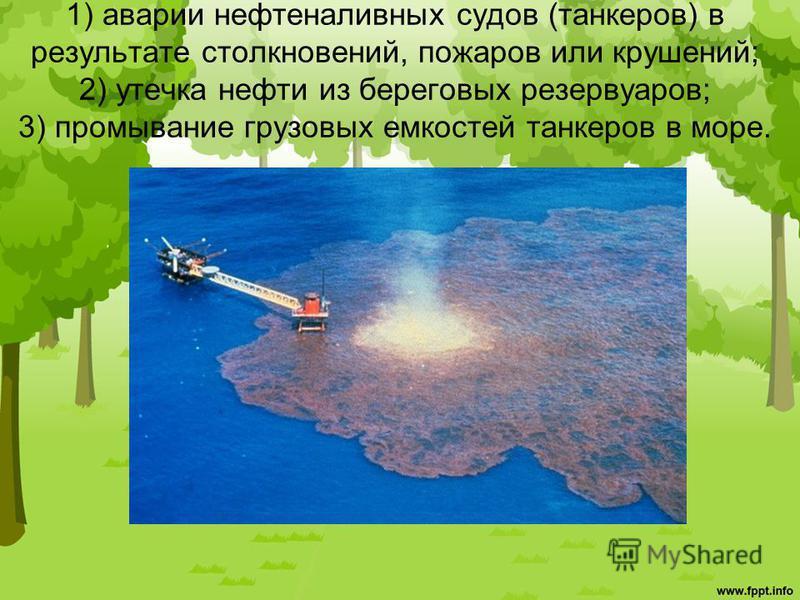 1) аварии нефтеналивных судов (танкеров) в результате столкновений, пожаров или крушений; 2) утечка нефти из береговых резервуаров; 3) промывание грузовых емкостей танкеров в море.