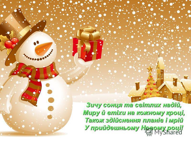 Зичу сонця та світлих надій, Миру й втіхи на кожному кроці, Також здійснення планів і мрій У прийдешньому Новому році!