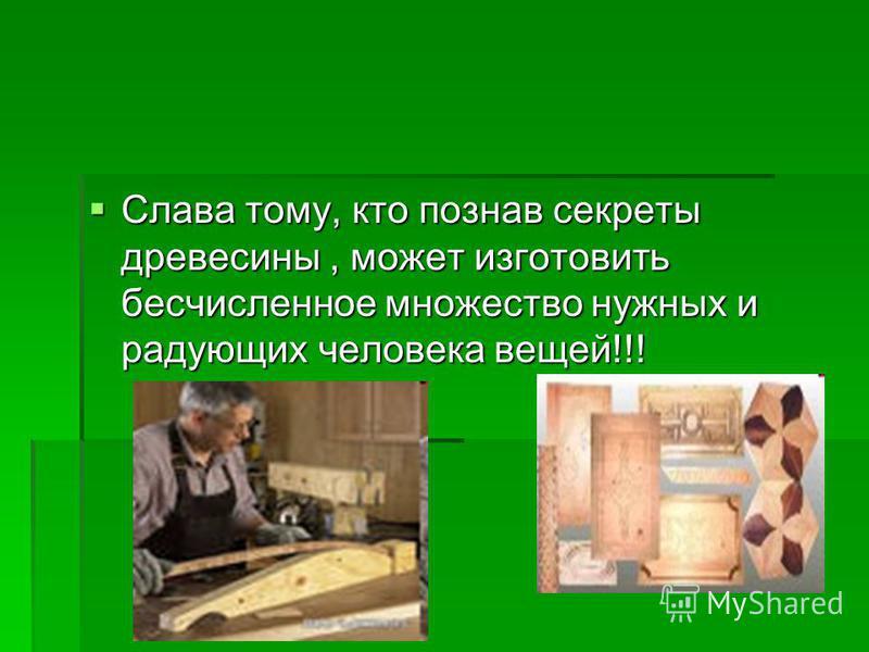 Слава тому, кто познав секреты древесины, может изготовить бесчисленное множество нужных и радующих человека вещей!!! Слава тому, кто познав секреты древесины, может изготовить бесчисленное множество нужных и радующих человека вещей!!!