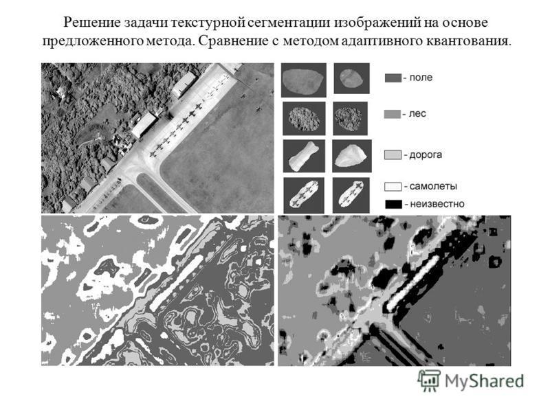 Решение задачи текстурной сегментации изображений на основе предложенного метода. Сравнение с методом адаптивного квантования.
