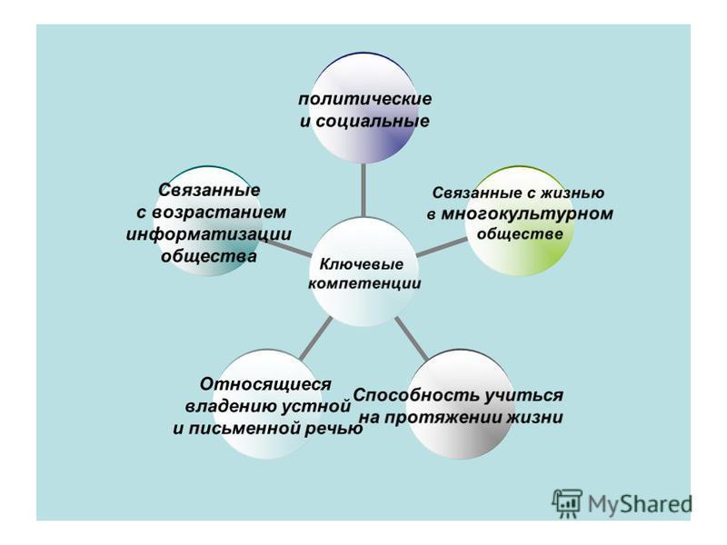 Ключевые компетенции политические и социальные Связанные с жизнью в много культурном обществе Способность учиться на протяжении жизни Относящиеся владению устной и письменной речью Связанные с возрастанием информатизации общества