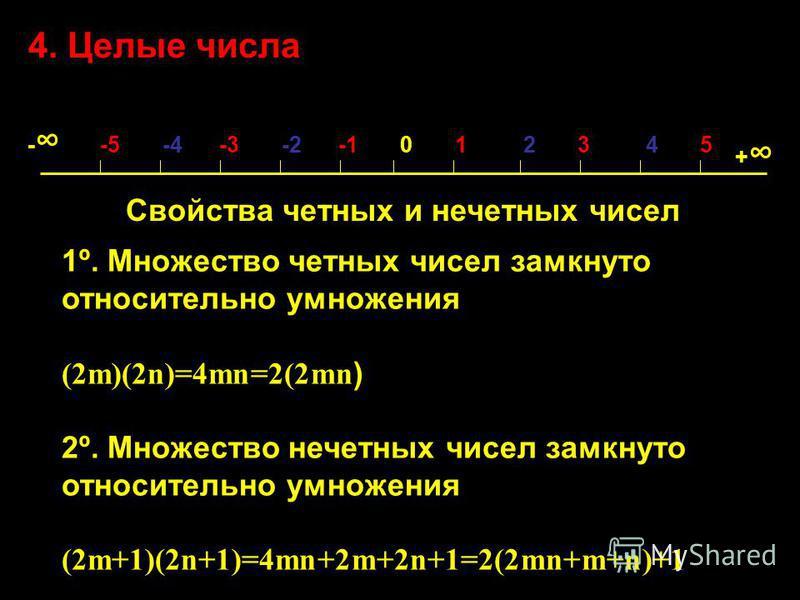 4. Целые числа - -5 -4 -3 -2 -1 0 1 2 3 4 5 + Свойства четных и нечетных чисел 1º. Множество четных чисел замкнуто относительно умножения (2m)(2n)=4mn=2(2mn ) 2º. Множество нечетных чисел замкнуто относительно умножения (2m+1)(2n+1)=4mn+2m+2n+1=2(2mn