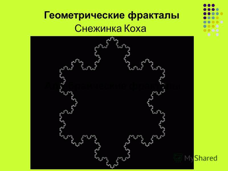 Геометрические фракталы Алгебраические фракталы Снежинка Коха