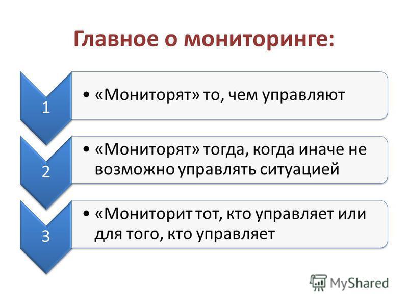 Главное о мониторинге: 1 «Мониторят» то, чем управляют 2 «Мониторят» тогда, когда иначе не возможно управлять ситуацией 3 «Мониторит тот, кто управляет или для того, кто управляет