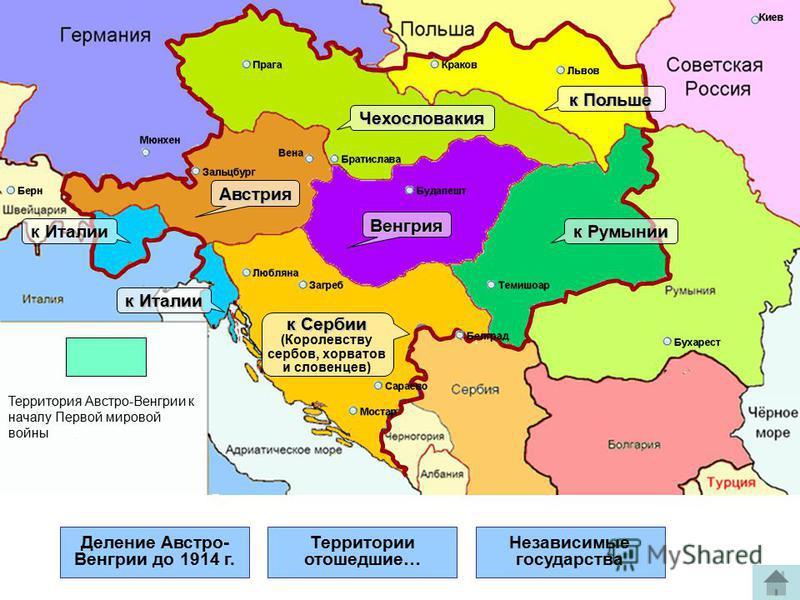 Деление Австро- Венгрии до 1914 г. Территории отошедшие… Независимые государства Австрия Чехословакия Венгрия к Румынии к Польше к Италии к Сербии (Королевству сербов, хорватов и словенцев) Территория Австро-Венгрии к началу Первой мировой войны