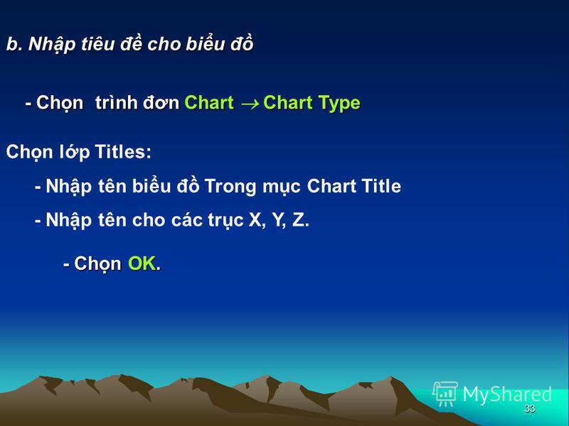 33 b. Nhp tiêu đ cho biu đ - Chn trình đơn Chart Chart Type Chn lp Titles: - Nhp tên biu đ Trong mc Chart Title - Nhp tên cho các trc X, Y, Z. - Chn OK.