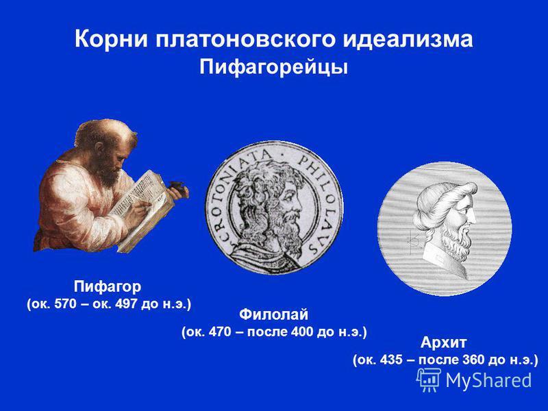 Корни платоновского идеализма Пифагорейцы Пифагор (ок. 570 – ок. 497 до н.э.) Архит (ок. 435 – после 360 до н.э.) Филолай (ок. 470 – после 400 до н.э.)