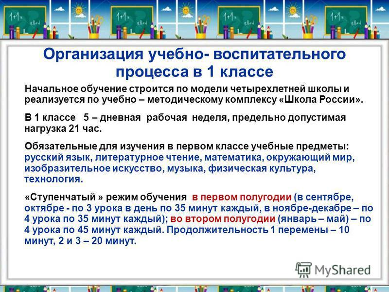 Организация учебно- воспитательного процесса в 1 классе Начальное обучение строится по модели четырехлетней школы и реализуется по учебно – методическому комплексу «Школа России». В 1 классе 5 – дневная рабочая неделя, предельно допустимая нагрузка 2