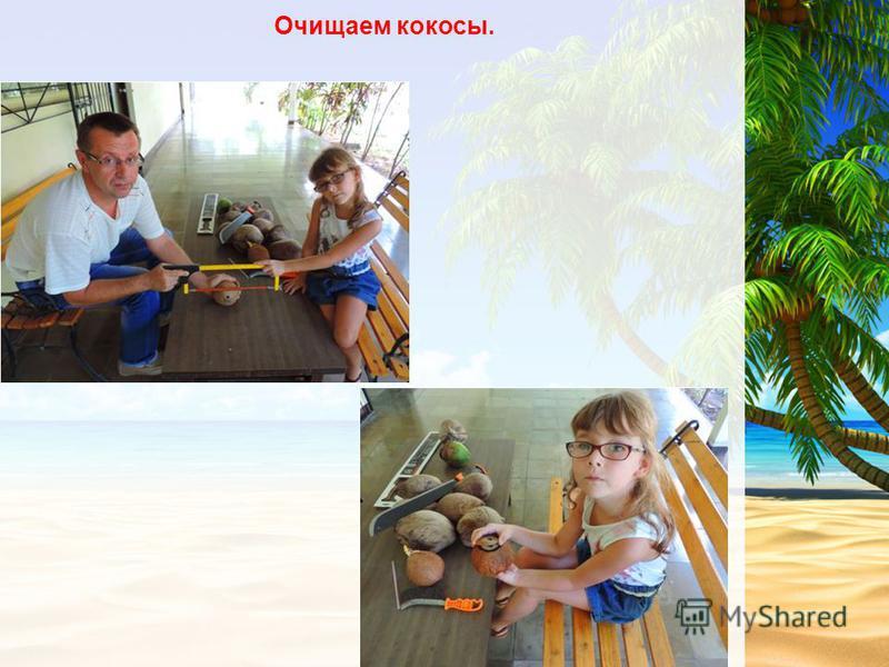 Очищаем кокосы.