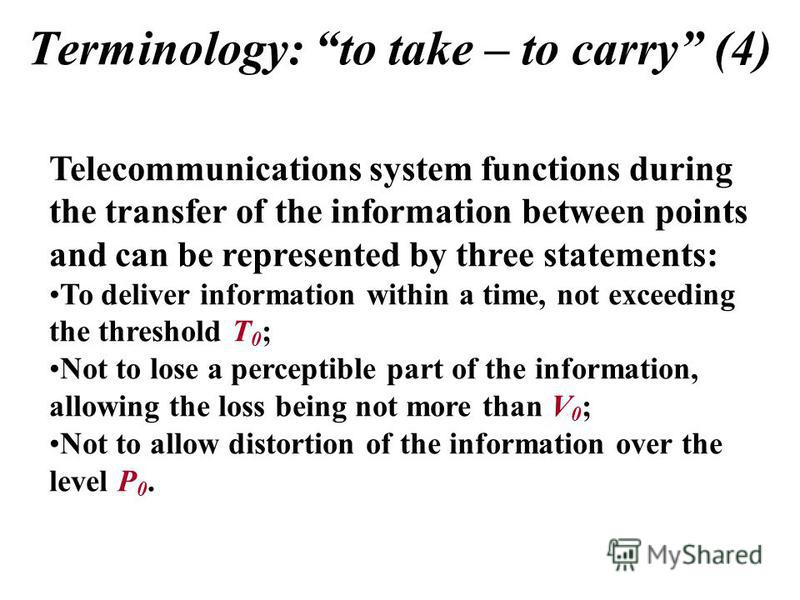 Terminology: to take – to carry (4) Telecommunications system functions during the transfer of the information between points and can be represented by three statements: To deliver information within a time, not exceeding the threshold T 0 ; Not to l