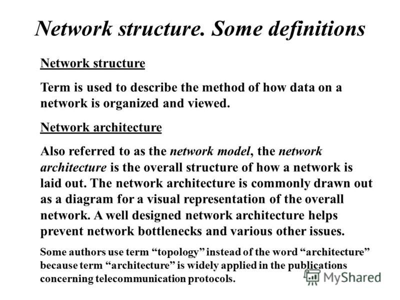 Network structure. Some definitions Network structure Term is used to describe the method of how data on a network is organized and viewed. Network architecture Also referred to as the network model, the network architecture is the overall structure