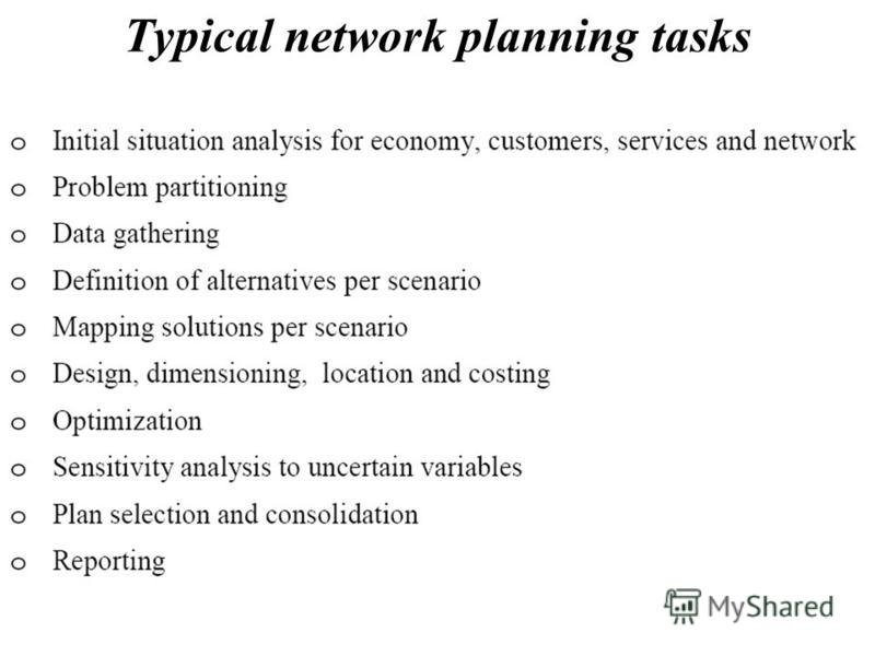 Typical network planning tasks
