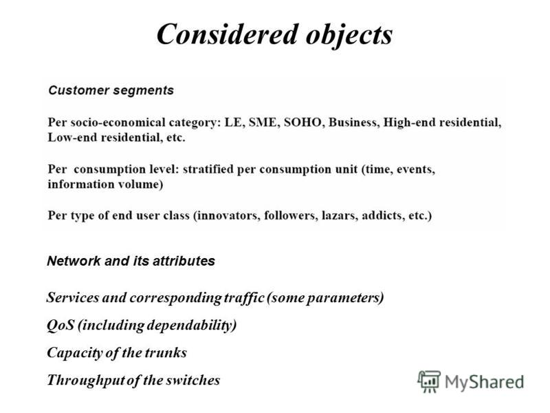 Considered objects Network and its attributes Services and corresponding traffic (some parameters) QoS (including dependability) Capacity of the trunks Throughput of the switches