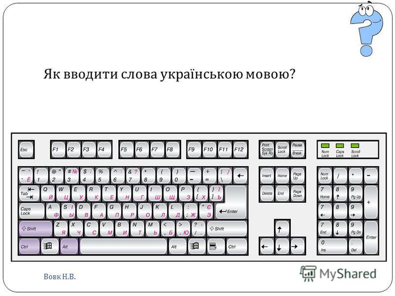 Як вводити слова українською мовою ? Вовк Н. В.