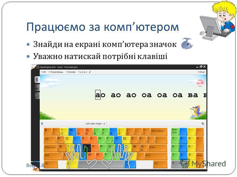 Працюємо за комп ютером Знайди на екрані комп ютера значок Уважно натискай потрібні клавіші Вовк Н. В.