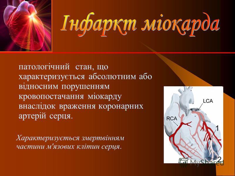 патологічний стан, що характеризується абсолютним або відносним порушенням кровопостачання міокарду внаслідок враження коронарних артерій серця. Характеризується змертвінням частини м'язових клітин серця.