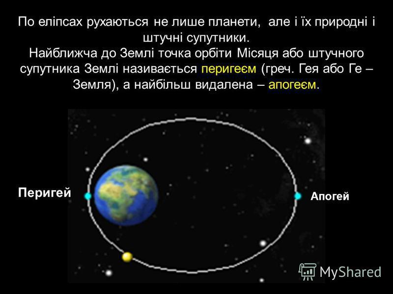 По еліпсах рухаються не лише планети, але і їх природні і штучні супутники. Найближча до Землі точка орбіти Місяця або штучного супутника Землі називається перигеєм (греч. Гея або Ге – Земля), а найбільш видалена – апогеєм. Перигей Апогей
