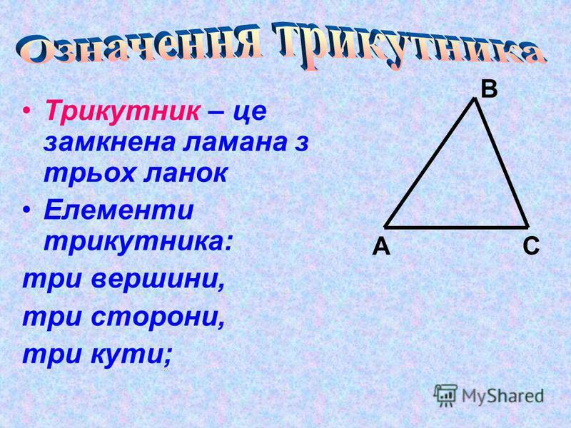 Трикутник – це замкнена ламана з трьох ланок Елементи трикутника: три вершини, три сторони, три кути; А В С