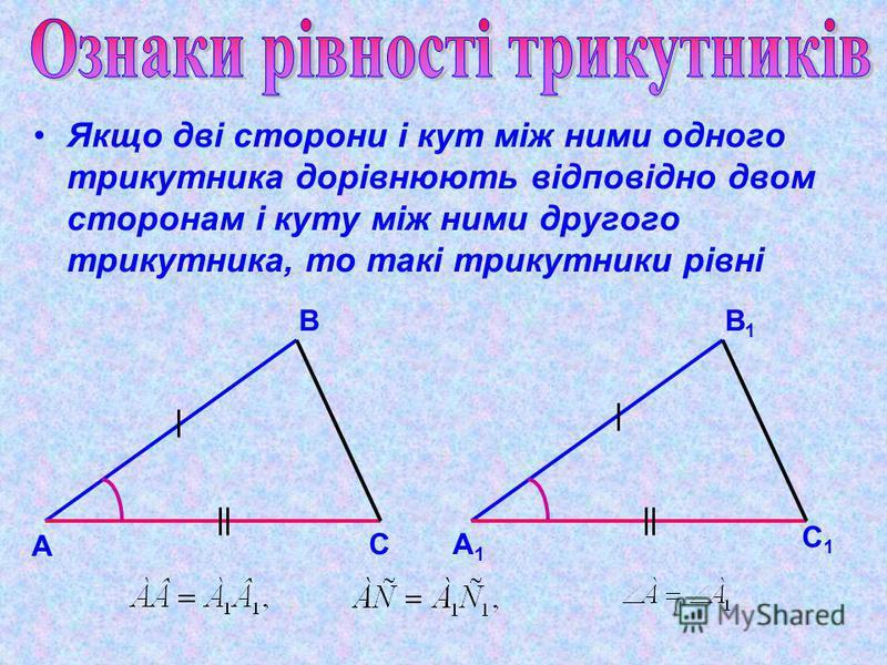 Якщо дві сторони і кут між ними одного трикутника дорівнюють відповідно двом сторонам і куту між ними другого трикутника, то такі трикутники рівні А В СА1А1 В1В1 С1С1
