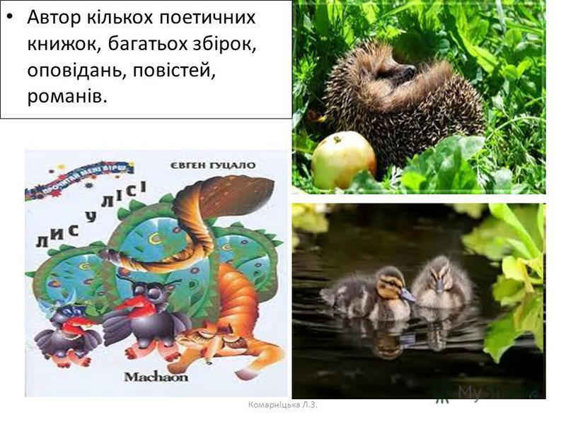 Автор кількох поетичних книжок, багатьох збірок, оповідань, повістей, романів. Комарніцька Л.З.