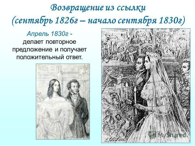 Возвращение из ссылки (сентябрь 1826 г – начало сентября 1830 г) Апрель 1830 г - делает повторное предложение и получает положительный ответ.