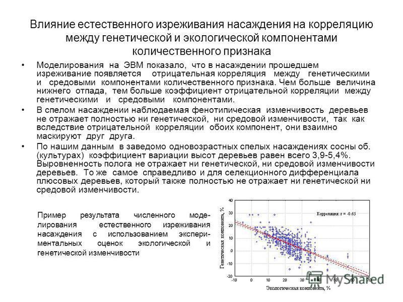 Влияние естественного изреживания насаждения на корреляцию между генетической и экологической компонентами количественного признака Моделирования на ЭВМ показало, что в насаждении прошедшем изреживание появляется отрицательная корреляция между генети