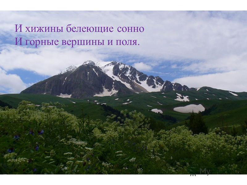 И хижины белеющие сонно И горные вершины и поля.