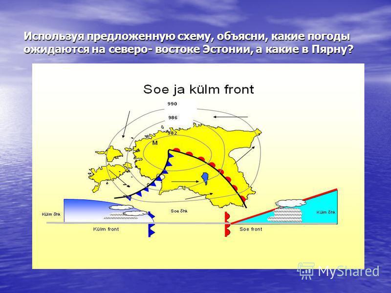Используя предложенную схему, объясни, какие погоды ожидаются на северо- востоке Эстонии, а какие в Пярну?