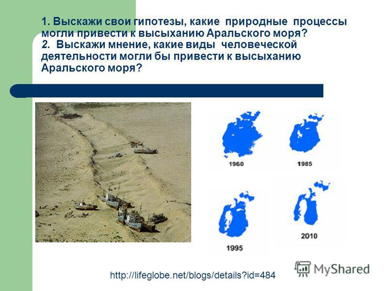 1. Выскажи свои гипотезы, какие природные процессы могли привести к высыханию Аральского моря? 2. Выскажи мнение, какие виды человеческой деятельности могли бы привести к высыханию Аральского моря? http://lifeglobe.net/blogs/details?id=484
