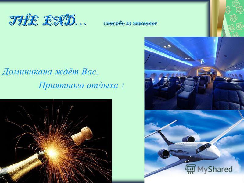 THE END… спасибо за внимание Доминикана ждёт Вас, Приятного отдыха !