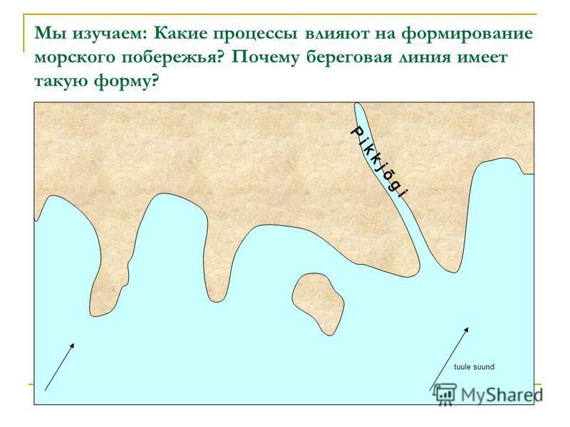 Мы изучаем: Какие процессы влияют на формирование морского побережья? Почему береговая линия имеет такую форму? tuule suund