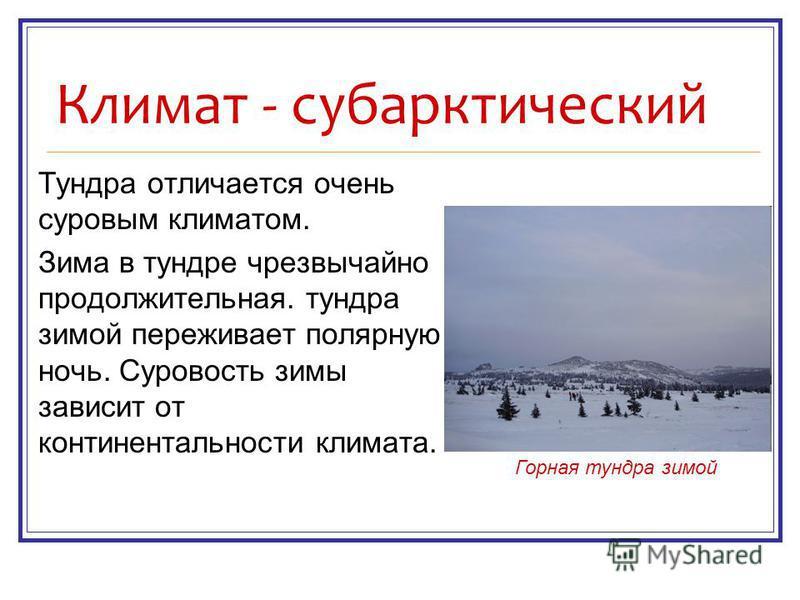 Климат - субарктический Тундра отличается очень суровым климатом. Зима в тундре чрезвычайно продолжительная. тундра зимой переживает полярную ночь. Суровость зимы зависит от континентальности климата. Горная тундра зимой