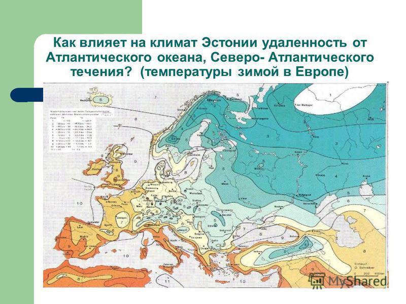 Как влияет на климат Эстонии удаленность от Атлантического океана, Северо- Атлантического течения? (температуры зимой в Европе)