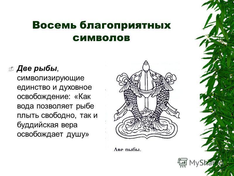 Восемь благоприятных символов Две рыбы, символизирующие единство и духовное освобождение: «Как вода позволяет рыбе плыть свободно, так и буддийская вера освобождает душу»