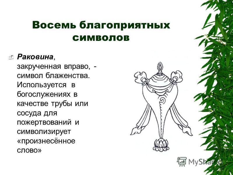 Восемь благоприятных символов Раковина, закрученная вправо, - символ блаженства. Используется в богослужениях в качестве трубы или сосуда для пожертвований и символизирует «произнесённое слово»