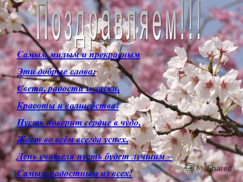 Самым милым и прекрасным Эти добрые слова: Света, радости и ласки, Красоты и волшебства! Пусть поверит сердце в чудо, Ждет во всём всегда успех, День учителя пусть будет лучшим – Самым радостным из всех!