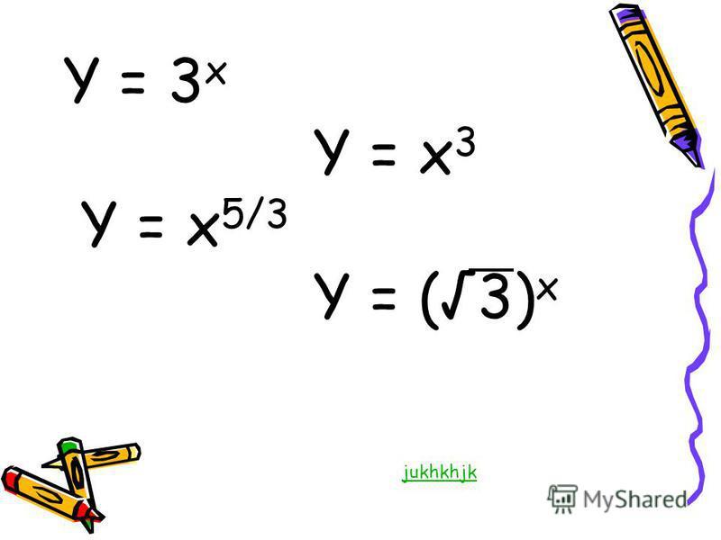 Y = 3 x Y = x 3 Y = x 5/3 Y = (3) x jukhkhjk