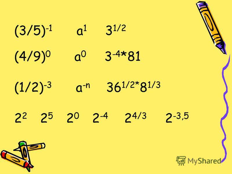 (3/5) -1 a 1 3 1/2 (4/9) 0 a 0 3 -4 *81 (1/2) -3 a -n 36 1/2* 8 1/3 2 2 2 5 2 0 2 -4 2 4/3 2 -3,5