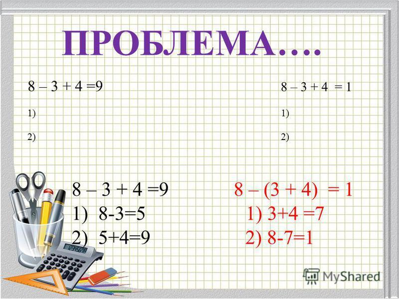 8 – 3 + 4 =9 8 – 3 + 4 = 1 1) 2) ПРОБЛЕМА…. 8 – 3 + 4 =9 8 – (3 + 4) = 1 1)8-3=5 1) 3+4 =7 2)5+4=9 2) 8-7=1