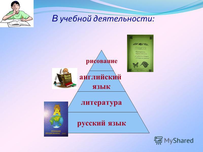 В учебной деятельности: рисование английский язык литература русский язык