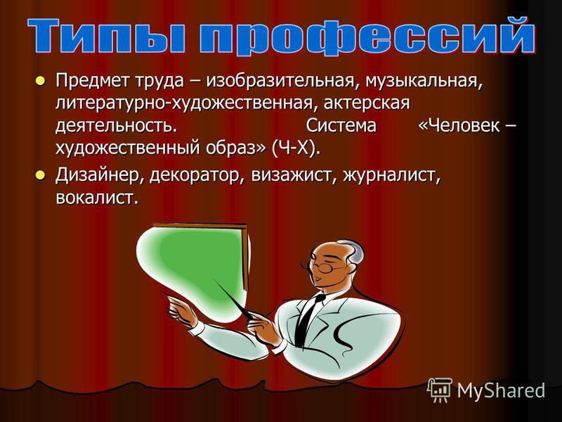 Предмет труда – изобразительная, музыкальная, литературно-художественная, актерская деятельность. Система «Человек – художественный образ» (Ч-Х). Предмет труда – изобразительная, музыкальная, литературно-художественная, актерская деятельность. Систем