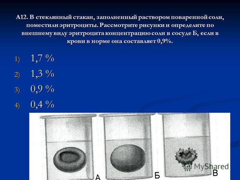 А12. В стеклянный стакан, заполненный раствором поваренной соли, поместили эритроциты. Рассмотрите рисунки и определите по внешнему виду эритроцита концентрацию соли в сосуде Б, если в крови в норме она составляет 0,9%. 1) 1,7 % 2) 1,3 % 3) 0,9 % 4)