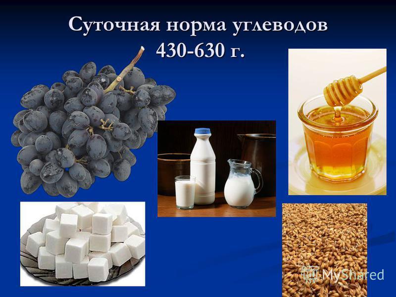 Суточная норма углеводов 430-630 г.