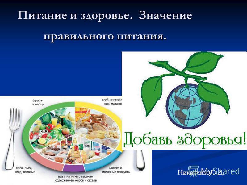 Питание и здоровье. Значение правильного питания. Никитенко О.Д.
