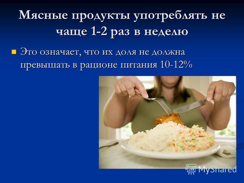 Мясные продукты употреблять не чаще 1-2 раз в неделю Это означает, что их доля не должна превышать в рационе питания 10-12% Это означает, что их доля не должна превышать в рационе питания 10-12%