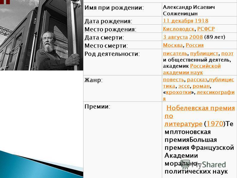 Имя при рождении: Александр Исаевич Солженицын Дата рождения: 11 декабря 11 декабря 19181918 Место рождения: Кисловодск Кисловодск, РСФСРРСФСР Дата смерти: 3 августа 3 августа 2008 (89 лет)2008 Место смерти: Москва Москва, Россия Россия Род деятельно