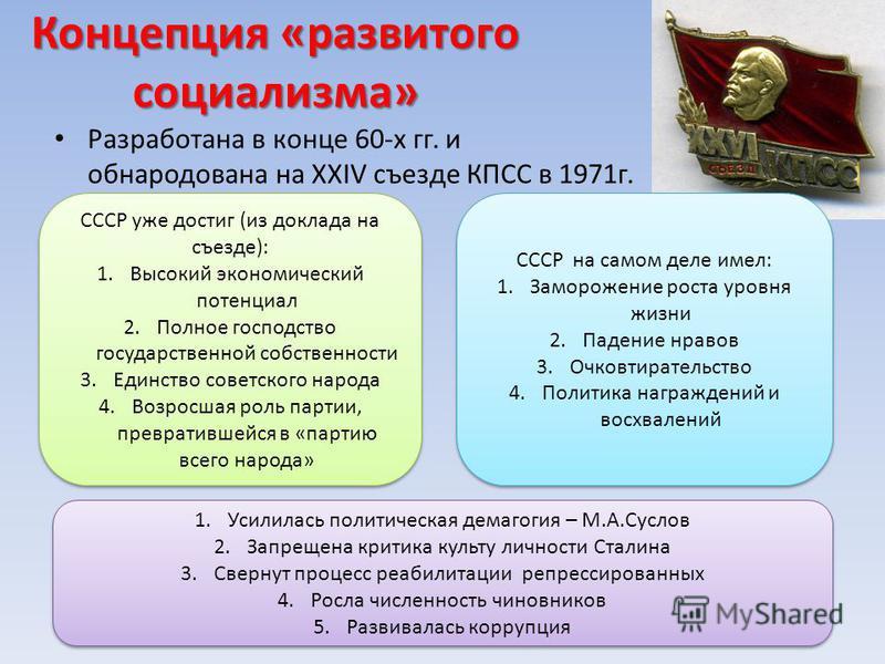 Концепция «развитого социализма» Разработана в конце 60-х гг. и обнародована на XXIV съезде КПСС в 1971 г. СССР уже достиг (из доклада на съезде): 1. Высокий экономический потенциал 2. Полное господство государственной собственности 3. Единство совет